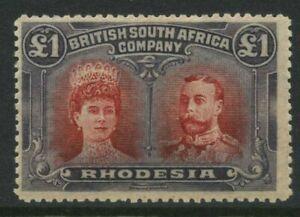 Rhodesia 1910-13 £1 Mint NH SG 166 Cat £1750