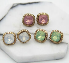 Handmade Crystal Gold Filled Stud long 18mm rotundity Natural Stone  Earrings