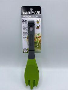 Farberware Salad Server Tongs 2-in- Green Heat Resistant Professional New