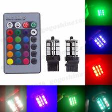 2x RGB T20 7440 5050 27-SMD LED Lights Bulbs Remote Control Kit Multi Color