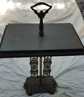 ANTIQUE+OSCAR+BACH+STYLE+DECO+ORNATE+WROUGHT+CAST+IRON+SLATE+TOP+ACCENT+TABLE