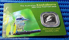 2002 Australia Kookaburra Silver Proof Coin (Australia's First Square Coin )