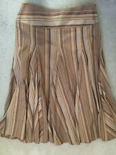 NEXT - BROWNS WITH GOLD STRIPES IN A-LINE PLEATED SKIRT WITH WAVY HEMLINE -10