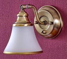 Wandlampe Altmessing Romatisch Landhaus-Stil Schwenkbar mit Schalter Glasschirm
