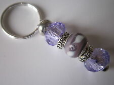 European Keyring / Bag Charm with Purple Lampwork Beads - 7cm