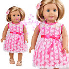 """New Handmade Pink Dress with white Lace for American Girl 18"""" Doll Selection"""