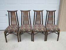 Vintage Bamboo Dining Chairs Asian Style  Fabric  Set of 4 SHIPPING NOT INCLUDED