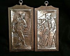 Vintage A. Nadeau Signed Embossed Copper Pictures Set of Two