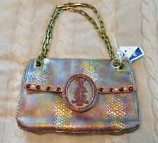 CHRISTIAN AUDIGIER Snake Shoulder Bag Rhinestones Red & Gold, Chain Handle NWT