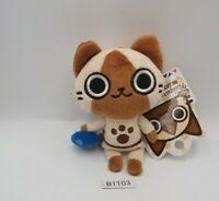 "Monster Hunter Airou B1103 Capcom Mascot Keychain TAG Plush 4"" Toy Doll Japan"