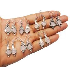 Sterling Silver Overlay Whe-9 Rose Quartz Gemstone Earring 925
