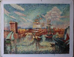 Art pointillism oil paintings on canvas repro sailing boat port painted 24x32in