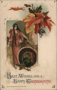 Indians Samuel L. Schmucker Best Wishes For a Happy Thanksgiving Winsch Postcard