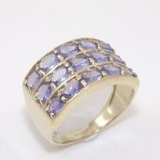 9K Yellow Gold Purple Tanznite Three Row Band Ring Size 6.25 GGL