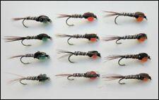 Pheasant Tail Nymph Fishing flies, 12 Hotheads Red, Orange & Green, Size 10/12