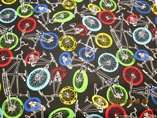 New ListingSport Packed Bikes by Timeless Treasureson Blue Sky 100% Cotton 1/2 Yard Piece