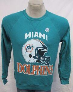 Miami Dolphins Pullover Crew Neck Sweatshirt NFL Turquoise Men's Small