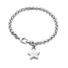 Gucci Trademark Engraved Star Charm Silver RHodium PVD Bracelet YBA356213001 new