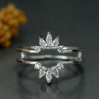 0.25Ct Pear Cut D/VVS1 Diamond Enhancer Wedding Ring 14K White Gold Finish