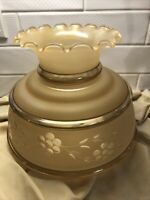 """Glass Hurricane 6.75"""" Fitter Lamp Shade Beige Painted Frosted Bowl Vtg Ruffle"""