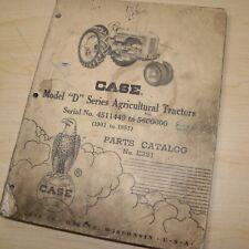Case D Series Agricultural Tractor Parts Manual Book Catalog List Farm 1941 1951