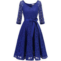 Women Lace 3/4 Sleeve Fit and Flare Cocktail Party Bridesmaid Dress with Belt