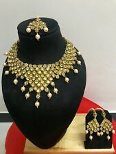 New Indian Bollywood Bridal Fashion Jewelry Pearl Gold Plated Necklace Set