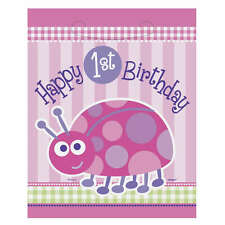8 Pink Ladybug Girls Happy 1st Birthday Party Plastic Treat Gift Loot Favor Bags