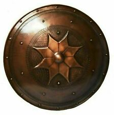 Medieval vintage steel armor shield round shape Star Design copper plated Gift