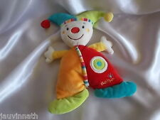 Doudou clown, multicolore, grelot, Babysun