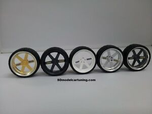 1:18 Scale VOLK TE37 19 INCH TUNING WHEELS, NEW! several color options!