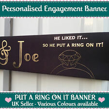 3m Long Personalised Engagement Banner Put a Ring on It Party Decoration Gold White