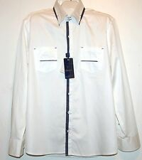 Mondo White Blue Lining Cotton Fancywork Men's Dress Shirt Size 3XL NEW