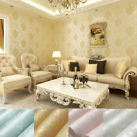 10M VINTAGE LUXURY DAMASK EMBOSSED FLOCKED TEXTURED NON-WOVEN WALLPAPER ROLL