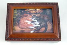 Photo Sleeping Kittens Woodgrain Music Box Plays Can you Feel The Love Tonight