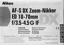 Nikon AF-S DX Zoom-Nikkor ED 18-70mm f/3.5-4.5G IF Instruction Manual New!