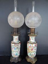 PAIRE DE LAMPES EN PORCELAINE DE CANTON GLOBES SAINT LOUIS CHINE 19EME (C507)
