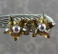 Vintage Topaz and Clear AB Crystal Rhinestone Open Back Gold Tone Star Earrings