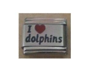 9mm Classic Size Italian Charm L38  I Love Dolphins