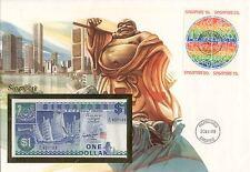 superbe enveloppe SINGAPOUR billet de banque timbres