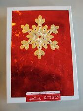 """Hallmark Boxed Lot Of 12 Christmas Cards 3D """"Snowflake"""" Nib Holiday Foil Red #m"""