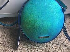 NWT Rebecca Minkoff Iridescent Blue Metallic Rachel Crossbody Circle Bag Purse