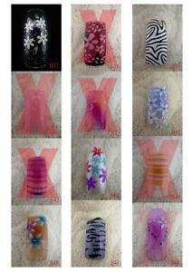 B37-B48 70 Pcs Pre-Designed Fashion False French Acrylic Nail Half Tips