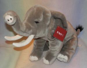 FAO Schwarz Grey Elephant Plush Stuffed Animal Trunk Up *  22X12 IN * NEW * COOL