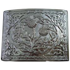 AAR Scottish Kilt Belt Buckle Thistle Emblem Celtic Knots Chrome Finish