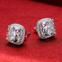 2ct d vvs1 diamond cushion cut halo stud earrings push back 14k white gold over