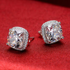 2ct d vvs1 diamond cushion cut halo stud earrings push back 14k white gold over