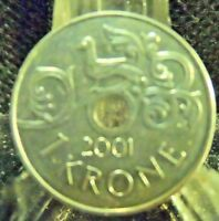 CIRCULATED 2001 1 KRONE NORWAY COIN (012819)1.....FREE DOMESTIC SHIPPING!!