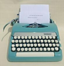 Vintage Smith Corona Super Sterling Blue Manual Portable Typewriter w/Case Works