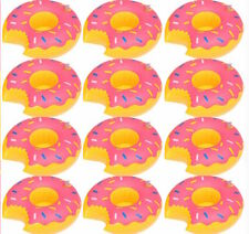 Inflatable Donut Pool Floating Drink Holder (12 Pack) Fun Party Decoration